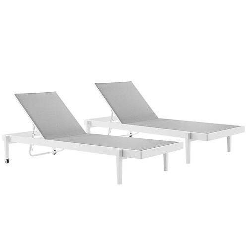 Charleston Outdoor Patio Aluminum Chaise Lounge Chair Set of 2