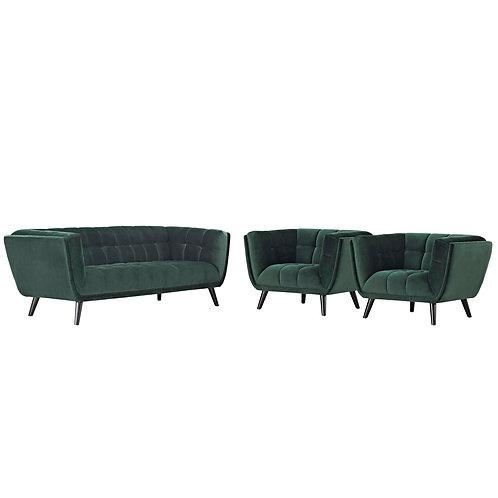 Bestow 3 Piece Performance Velvet Sofa and Armchair Set