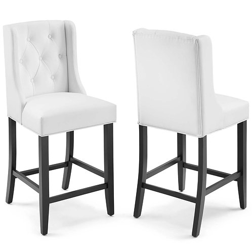 Baronet Counter Bar Stool Faux Leather Set of 2