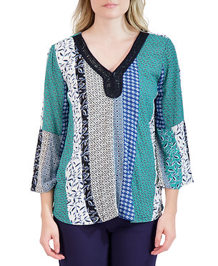 Crochet Trimmed Long Sleeve Crepe Top