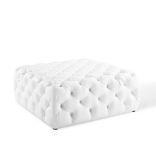 Amour Tufted Button Large Square Faux Leather Ottoman