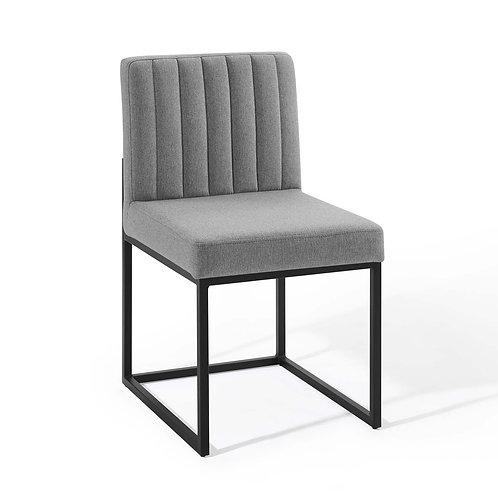 Carriage Channel Tufted Sled Base Upholstered Fabric Dining Chair