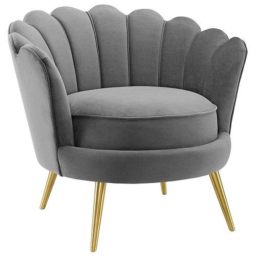 Admire Scalloped Edge Performance Velvet Accent Armchair