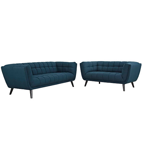 Bestow 2 Piece Upholstered Fabric Sofa and Loveseat Set
