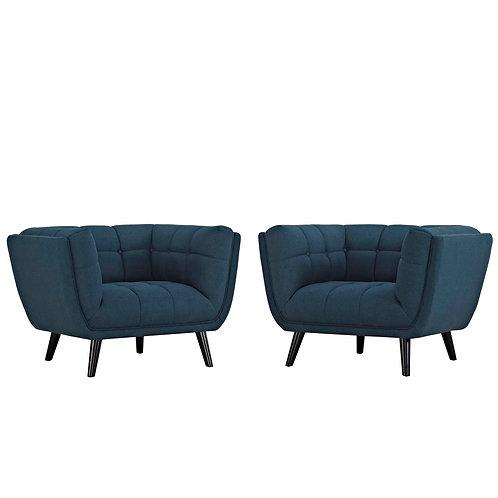 Bestow 2 Piece Upholstered Fabric Armchair Set