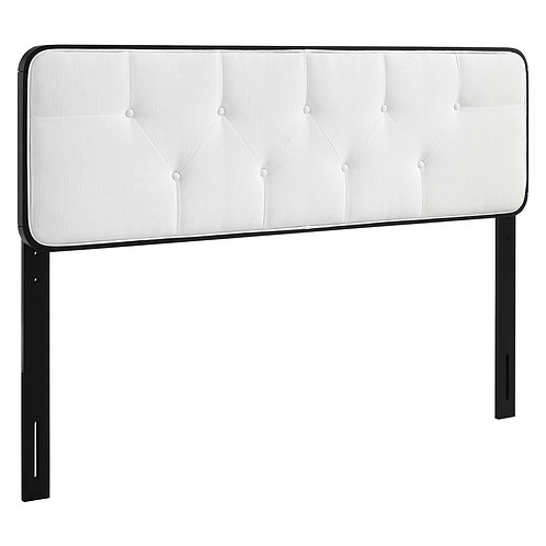 Collins Tufted King Fabric and Wood Headboard