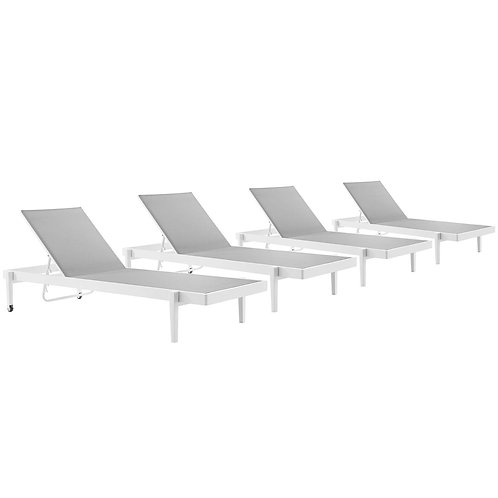 Charleston Outdoor Patio Aluminum Chaise Lounge Chair Set of 4