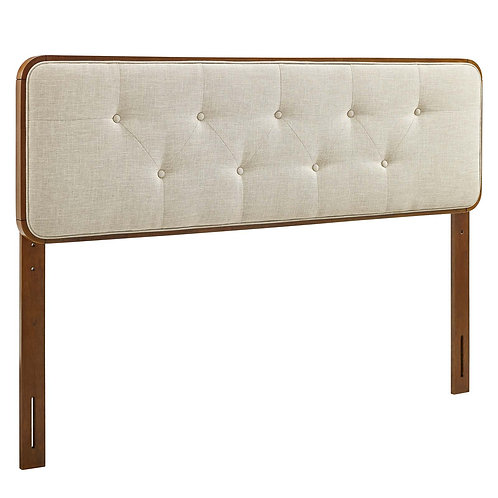 Collins Tufted Full Fabric and Wood Headboard