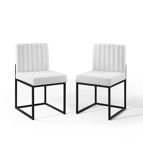 Carriage Dining Chair Upholstered Fabric Set of 2