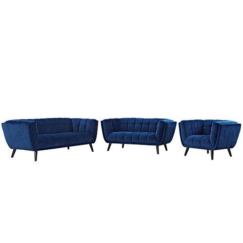 Bestow 3 Piece Performance Velvet Sofa Loveseat and Armchair Set