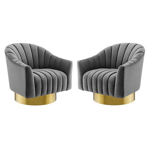 Buoyant Swivel Chair Performance Velvet Set of 2