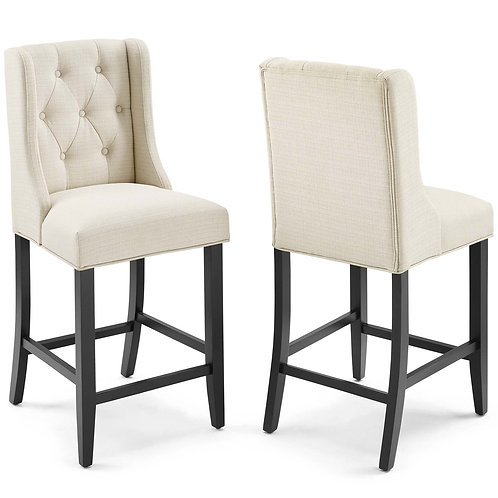 Baronet Counter Bar Stool Upholstered Fabric Set of 2