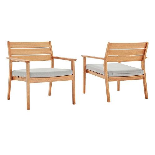 Breton Outdoor Patio Ash Wood Armchair Set of 2