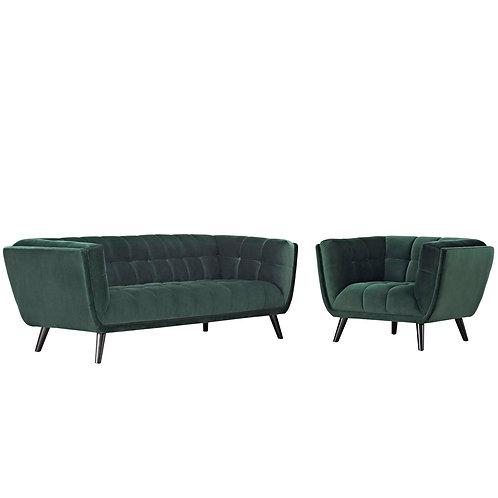 Bestow 2 Piece Performance Velvet Sofa and Armchair Set