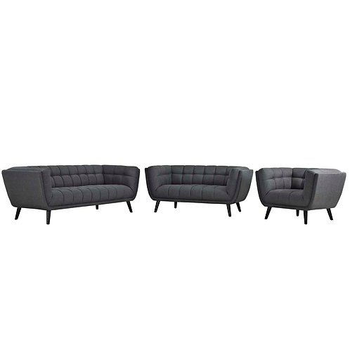 Bestow 3 Piece Upholstered Fabric Sofa Loveseat and Armchair Set