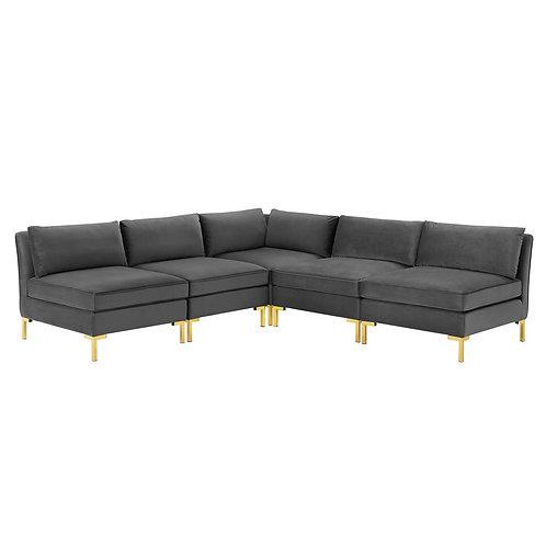 Ardent 5-Piece Performance Velvet Sectional Sofa