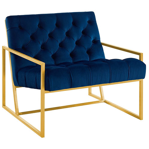 Bequest Gold Stainless Steel Performance Velvet Accent Chair
