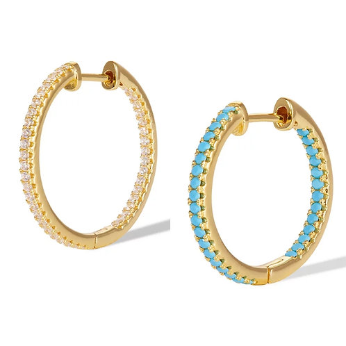 Gold Hoops with crystal detail