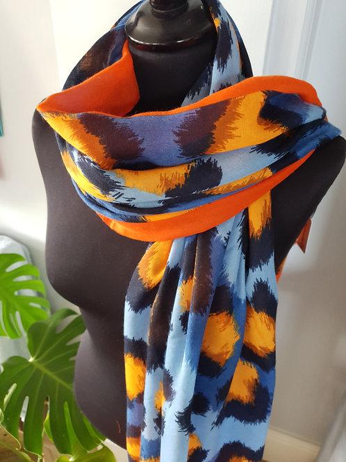Navy & Orange Leopard print scarf