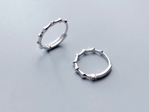 Bamboo Joint Hoop Earrings - silver or gold
