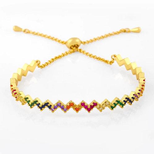 Zig Zag Rainbow Crystal Slider Bracelet