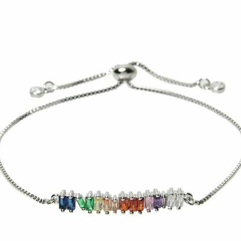 Silver Rainbow Crystal Slider Bracelet