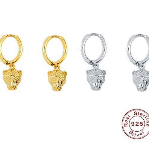 Roar Huggie Hoops with Leopard Pendant - silver or gold