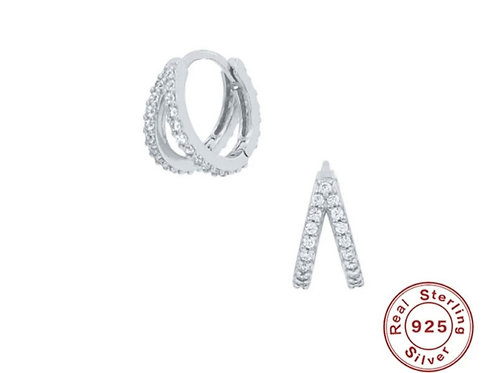 Double Sparkle Huggie Hoops - silver or gold