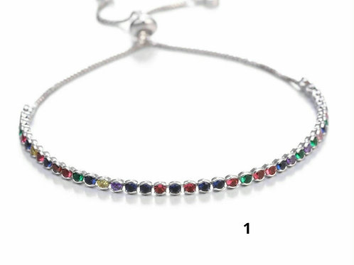 Silver Rainbow Crystal Slider Bracelet - 2 designs