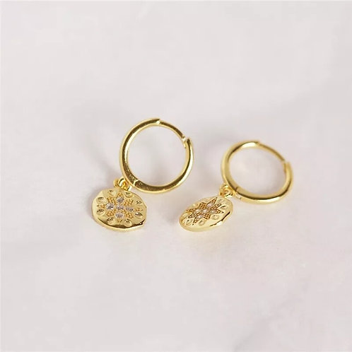 Coin Sterling Silver Huggie Earrings - Gold