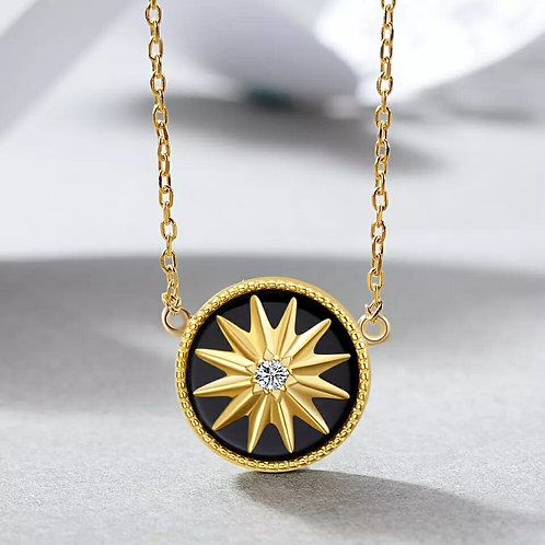 Noir Agate Gold Star Necklace