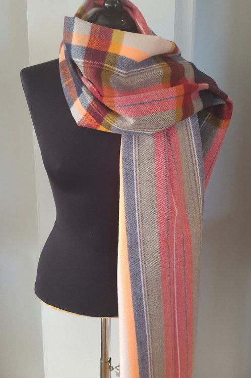 Stipe & Check Cashmere mix Scarf - cream