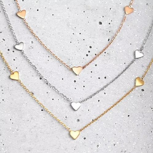 Little Love Heart Choker - silver or Rose