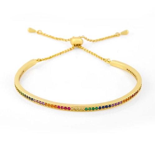 Mia Rainbow crystal Slider Bracelet