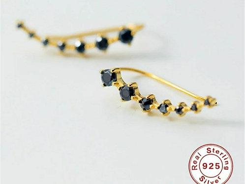 Jet Climber Earrings - Sterling silver