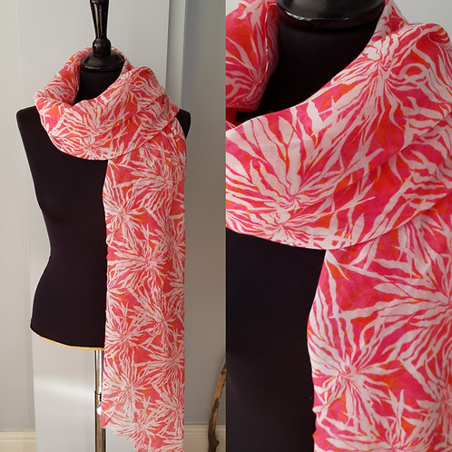 Pink and White Pattern Scarf