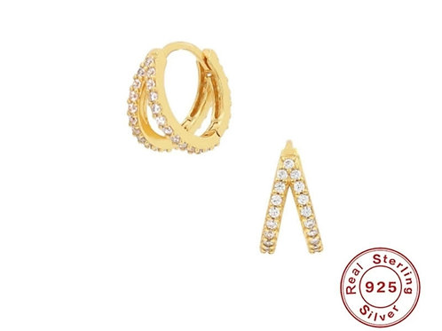 Double Sparkle Huggie Hoops - gold