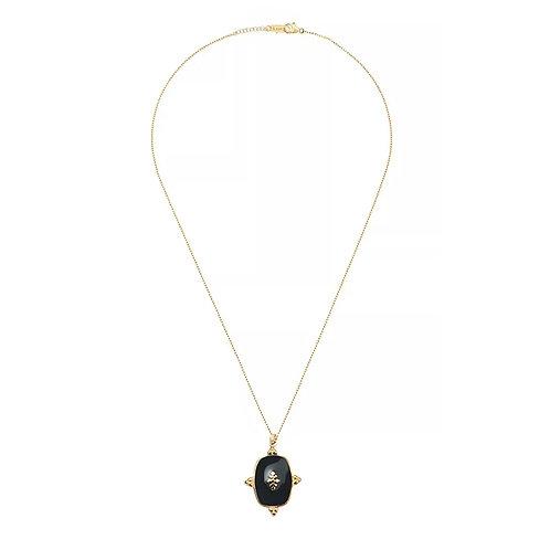 Elizabeth Gold and Black Enamel Pendant Necklace