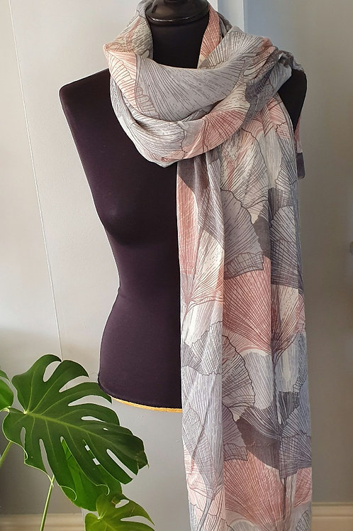 Ginkgo Leaf Print Scarf in Pink & Grey