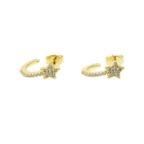 Sterling Silver 18k Gold Plated Star Stud Earrings