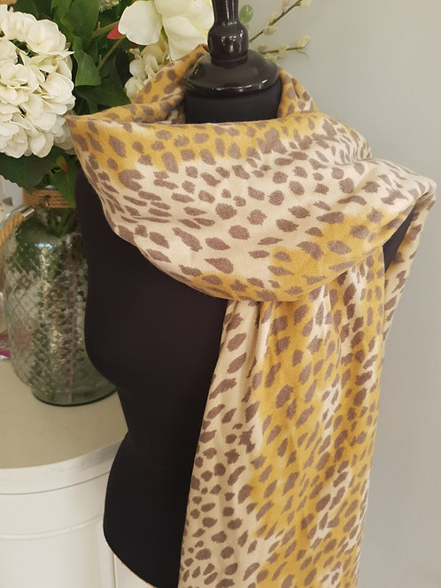 Leopard Print Soft Scarf - Mustard trim