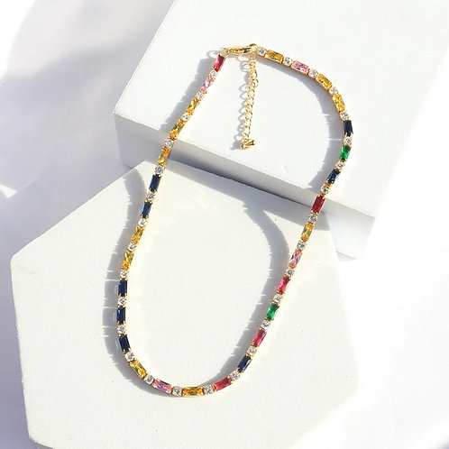 Rainbow Crystal Choker Necklace