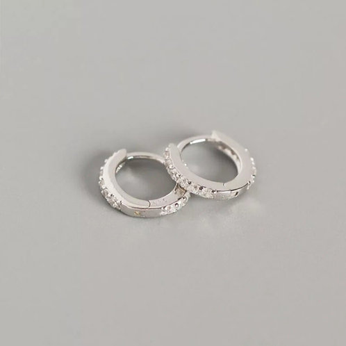 Crystal Sterling Silver Huggie Earrings - 7mm