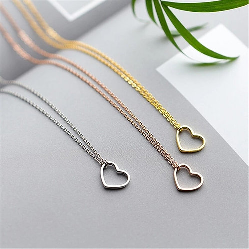 Heart Pendant necklace, sterling silver - silver or rose gold