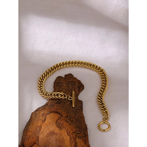 Melanie T Bar Gold Chunky Chain Bracelet