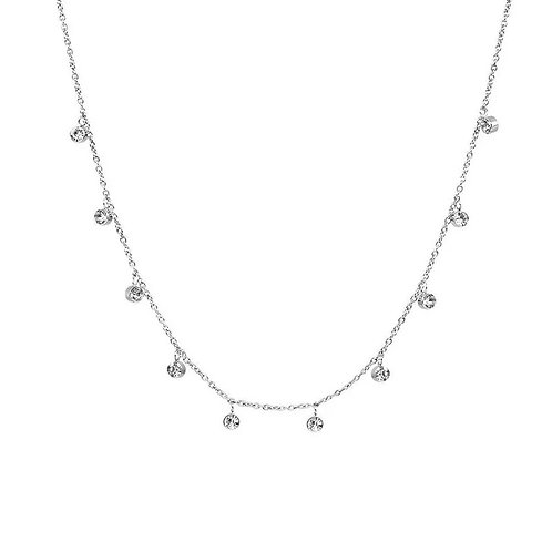 CZ Sparkle Choker Necklace in Silver