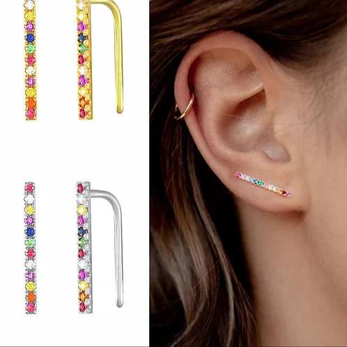 Rainbow Ear Climber Earrings - Silver or gold