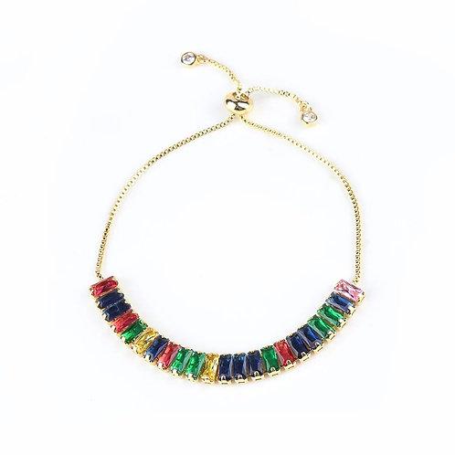 Chloe Rainbow Crystal Slider Bracelet