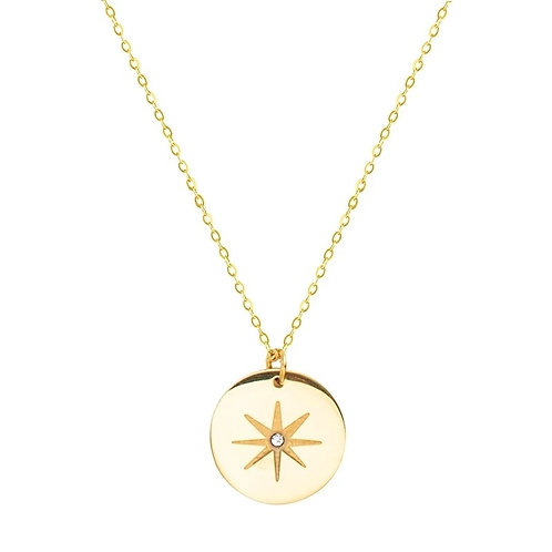 North Star Pendant Necklace  -  Gold stainless steel