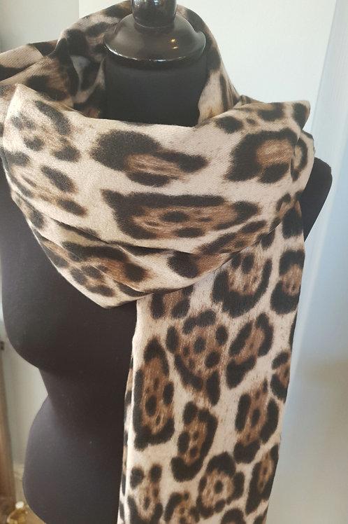 Leopard Print Cashmere mix Scarf